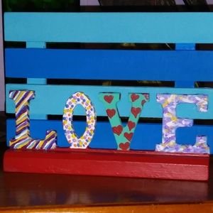 """Colorful Hand-painted & Handcrafted Wooden """"LOVE"""""""